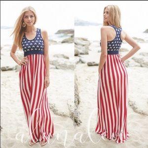 AMERICAN Flag Racerback Maxi Dress